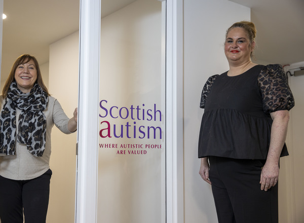 Queens Cross Housing Association's chief executive, Shona Stephen welomes Scottish Autism's Senior Autism Practitioner Colleen McMahon to the new facility in Springbank Street.